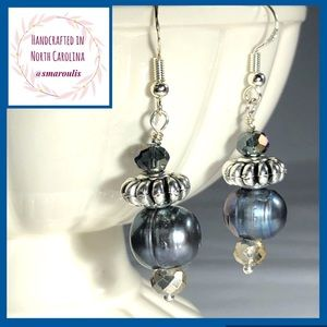 Sterling Silver Earrings Kaira Baroque Grey Pearl
